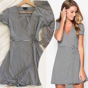 Topshop Striped Wrap Skater Dress